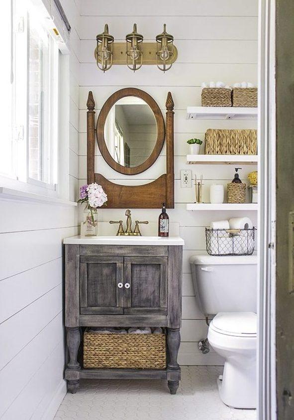 łazienka rustykalna, łazienka wstylu farmhouse, jak urządzić stylową łazienkę, trendy łazienkowe