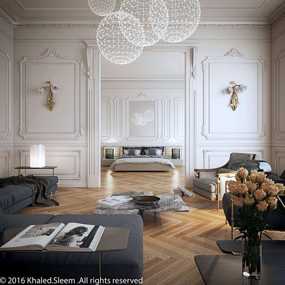 dom wstylu paryskim sztukateria biała