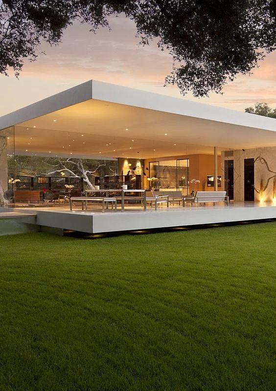 nowoczesny dom parterowy, nowoczesny dom, nowoczesny dom parterowy zpłaskim dachem
